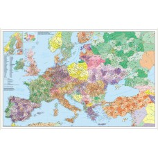 European postal codes map with roads